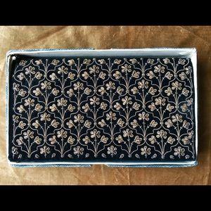 Gold Metallic Embroidery on Black Velvet Clutch